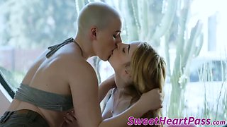 Busty dyke with shaved head tongue fucks her girlfriend