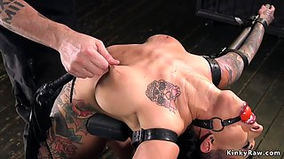 Busty alt slave pussy finger fucked