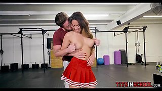 Cheerleader Sucks Jock Cock in the Gym