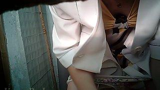 Blonde white stranger chick in blue jeans filmed in the toilet