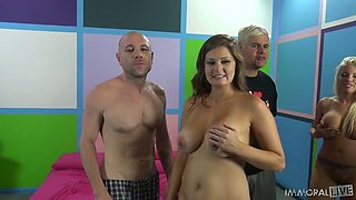 Zealous babes Britney and Savannah are great pros in giving stout blowjob