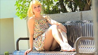 Shy blonde Astrid teases with her great body in public