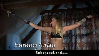 bound and gagged blonde cu punished with deep throat