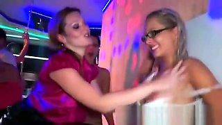 Glamour ladies manhandling several cocks