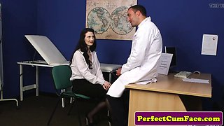 Uk milf sucks doctor cock before facial