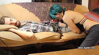 Nasty GF Jane Jupiter blows a guy while he's sleeping