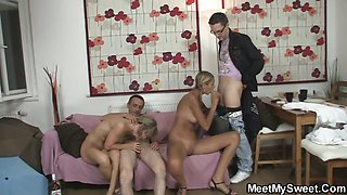 Foursome with her BF\'s parents and his friend