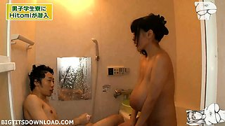 impressive big tits asian in the bath
