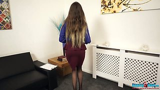 Long haired torrid Jenny is lewd office secretary who loves to pet herself