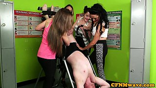 Femdom babes dominated over lucky dude