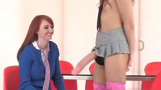 Hot teenies drill the biggest strapons and spray semen everywhere