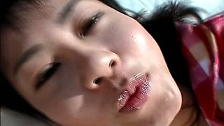 Ugly Japanese hussy Shinobu Kasagi pounds herself with dildo