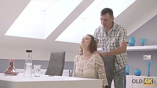 Beautiful Russian babe with juicy big tits Marina Visconti rides stiff dick