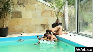 Group of friends has fun in the pool