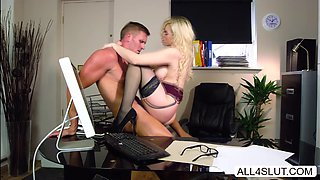 bigass Katy Jayne rides bigcock on the office table
