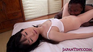 Sweet Asian teen gets slammed hardcore by a black stud