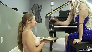 Kinky blonde MILF mistress punishes her submissive piano students