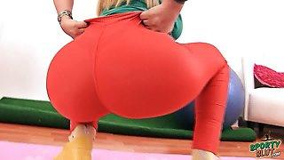 Huge Perfect ASS Latina In Spandex Deep Cameltoe Big Boobs