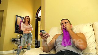 Naughty red head Athena Rayne caught her step brother sniffing panties