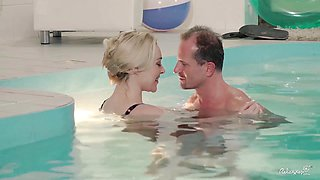 RELAXXXED - Busty British babe enjoys steamy pool fucking