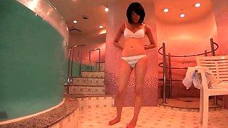 Petite Japanese schoolgirl loves getting her pussy slammed