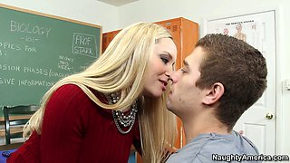 Horny blonde teacher Aiden Starr wears her best lingerie for her handsome student