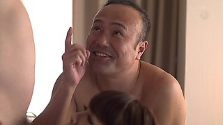 Two Asian beauties in fishnets meeting with two elderlies in a motel