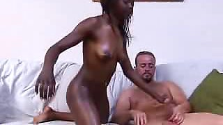 Super Dark Black Girl fucks White Boy