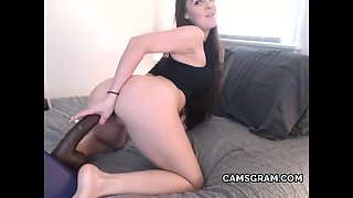 Pretty Hot Brunette Has Fun With A Sex Toy And Exposes Her Body