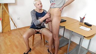 mature teacher handjob blowjob long red nails 3