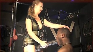 latex mature mistress monster strapon hardcore anal fuck black slave femdom