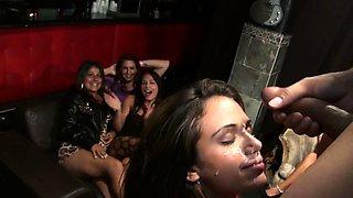Facialized beauty having fun at wild party