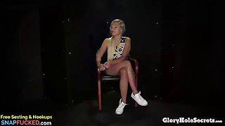 Blonde german gabi&#39s first gloryhole video