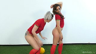 Scarlett Johnson and another girl enjoy playing with sex toys