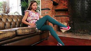 Cute college girl in green pantyhose