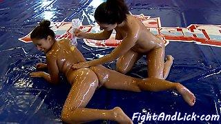 Wrestling lesbo eurobabes get oiledup