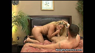 Busty freaking hot blondie Friday jumps on the stiff tool
