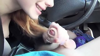 Redhead slut fucks dude with car