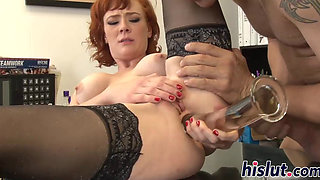 Foxy redhead has her asshole rammed hard