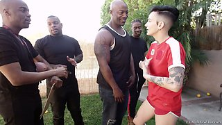 Several black studs fuck tattooed tomboy Nikki Hearts and feed her with sperm