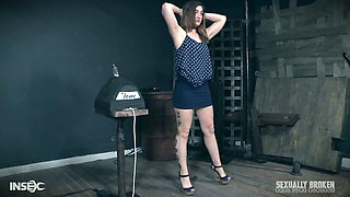 All naked submissive Kat Monroe gets tied up and has to ride sex machine