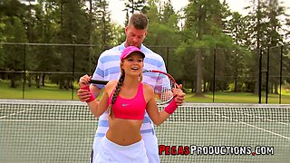 Sexy tennis girl Kathy Rose is having crazy outdoor sex on the tennis court