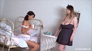 Micky feeds milk to luna from her huge tits