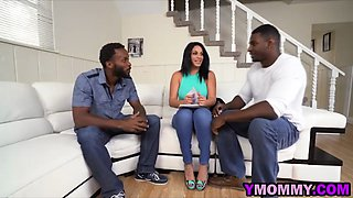 Nasty slut gets hammered by two black studs with monster cocks on the couch in several poses