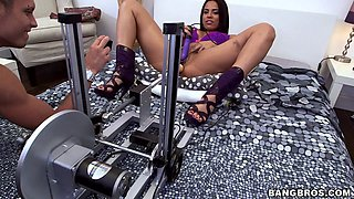 Luna Star plays with a fucking machine and enjoys doggy style sex