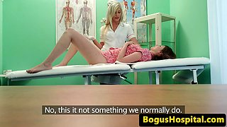 Real nurse gets pussy fingered by cute lezzie