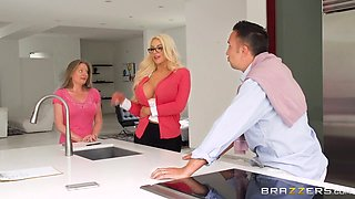busty blonde gets busy in the office