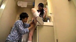 Asian teen Rin Suzune has group action in school uniform