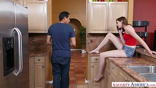 Hot tempered stud fucks housewife Blaire Ivory in the kitchen