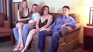 Swinger couple invites their neighbors over for a kinky foursome